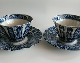 Antique Chinese porcelain tea cups Blue China