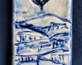 Ceramic Painting of Jeursalem in Blue, Clay Mezuzah Case with Hand Carved Letter Shin