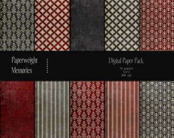 Fairy Tale Gone Bad -digital patterned paper -  Instant Download - digital scrapbooking - red and grey patterned paper - Commercial Use