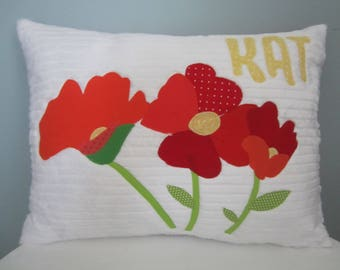 Pretty Poppy Personalized Pillow