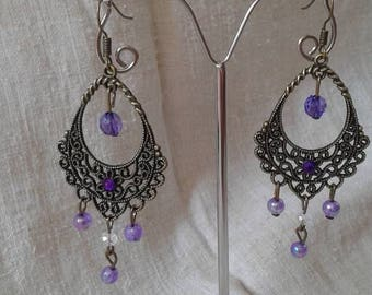 "Earrings ""bronze and purple"""