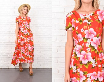 Vintage 70s Red Maxi Dress Hawaiian Print Floral Flower XS Boho 10386