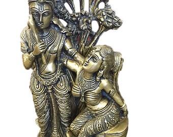 Yoga Studio Indian Vintage Divine Love Radha Krishna Brass Sculpture Handmade Zen Hindu Altar Home Interior Design