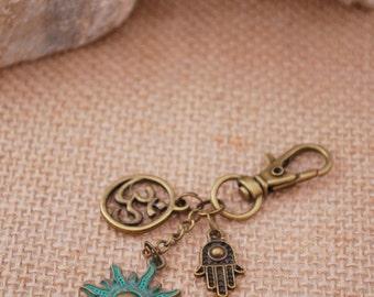 Yoga keychain, sun keychain, bronze hamsa keychain, hippie keychain, hamsa hand key chain, ohm keychain