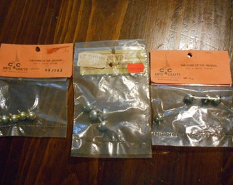 Lot of 3 Packages of Screw Legs Trinket Box Craft Supply Doll House Brass Metal NOS
