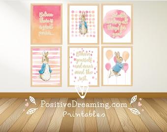 6 Peter Rabbit printable wall art set, Girl wall decor, decor printable, Wall Art, Peter Rabbit Nursery, Peter Rabbit quote, Beatrix Potter