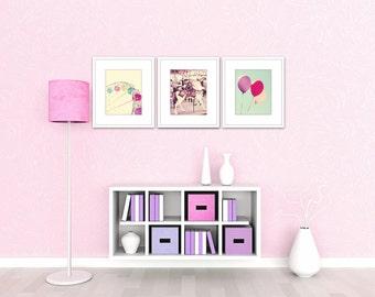 nursery wall art carnival art set of 3 nursery prints toddler girl room pink and purple nursery balloon art ferris wheel art carousel