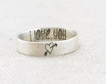 Valentine's Gift - Wife Gift - Personalized Ring  -  Jewelry - Engraved Ring - Heart Ring  Ring  - Gift for Her - Girlfriend Gift