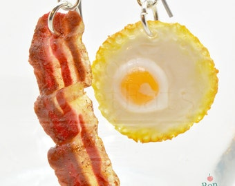 Bacon and Egg Hanging Earrings, Food Jewelry, Miniature Food Earrings, Polymer Clay Jewelry, Breakfast Earrings, Food Charms, Nickel Free