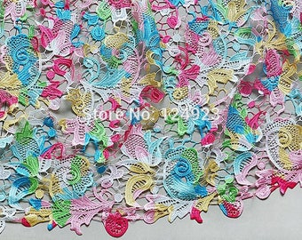 5 Yards Soft 100% Cotton guipure french lace Chemical African Lace Fabric High Quality