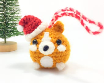 Crochet Amigurumi Cute Kawaii Corgi Dog Small Stuffed Animal Accessory Christmas Tree Ornament  Santa Hat Holiday Office Decor Handmade Gift