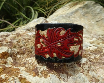 leather cuff/upcycled leather cuff bracelet/womans bracelet/mens leather cuff bracelet/flower cuff/tooled flower cuff/painted cuff/C134