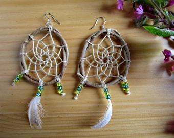 Native American Jewelry, Festival Earrings, Brown Dreamcatcher Earrings, Hippie Feather Jewelry, Boho Earrings, Natural Wooden Jewellery
