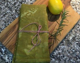 Shibori Linen Tea Towel Natural Dyed Onion Skin Green 46cm x 70 cm dish towel