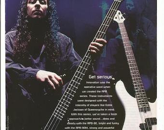 1996 Advertisement Eddie Jackson Queensryche Fernandes Bass Guitar APB Series Player Fan Collector 90s Musician Studio Rock Wall Art Decor