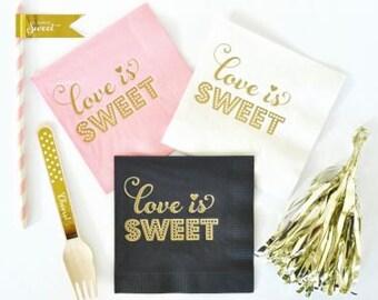 Love is Sweet Favor Napkins (set of 25) // Bridal Shower Napkins // Wedding Napkins // Gold Dessert Napkins // Wedding Reception