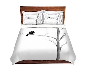 Raven Bedding - Modern Bedding - Queen Size Duvet Cover - King Size Duvet Cover