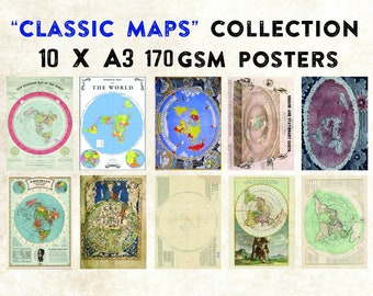"""Flat Earth """"Classic Maps"""" Collection 10 x A3 Posters"""