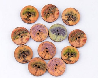buttons 10 wood trees mix colors and patterns in 20mm