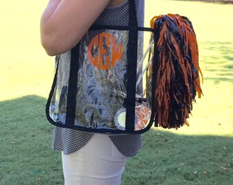 SALE - Clear Stadium Tote - Transparent Tote - Clear Tote - Personalized Clear Tote -  NFL Guideline Approved Tote - Game Day Clear Tote