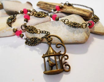 Pink Agate Bronze Bird Cage Beaded Pendant Necklace Spring Easter Jewelry Mothers Day Gift Vintage Bridal Jewelry Valentines Day Friend Gift