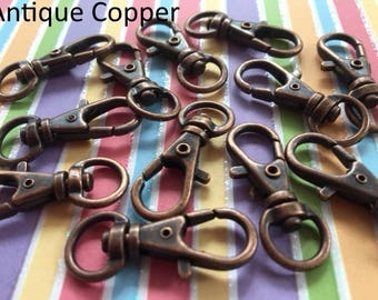 40 Pieces Lobster Swivel Clasps - 1.3 INCH - 34 mm (available in nickel, antique brass, copper, and antique copper finish)