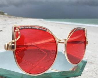 Oversized RED Cat Eye Reflective Sunglasses Women, Retro Sunglasses,l SPUNGLASSES, Artisan Indie Pop Mod Festival Sunglasses, Oversized