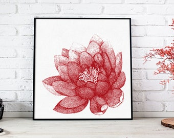 "Flower wall art, Lotus flower art, Lotus wall art, yoga art, lotus painting, floral painting, yoga wall decor, Lotus print ""Purity of lotus"""