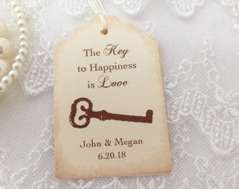 Key Favor Tags, Key Wedding Tags, Skeleton Key Tags, Key to Happiness is Love Wedding Tags, Set of 10