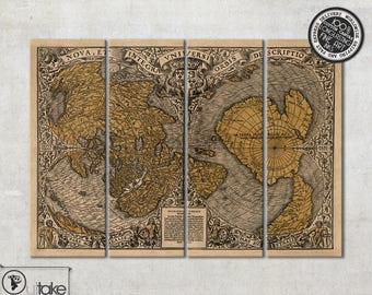 Antique world wall map, canvas art on 4 panels, ready to hang wall decor, 089