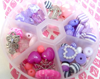 Pink and Purple Beads Variety Box resin bead globes Destash Sparkly Cute Mix