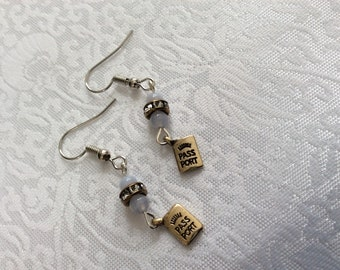Passport drop earrings with glass beads and rhinestones on surgical steel earwires