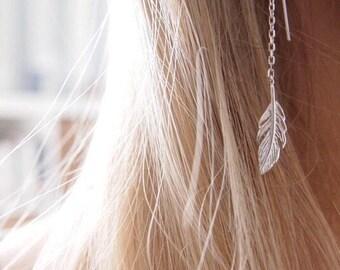 Earrings long Silver 925 thin sheets - silver earrings