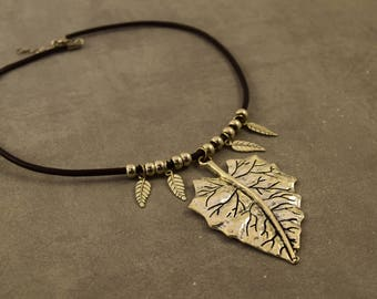 Silver leaf leather pendant necklace