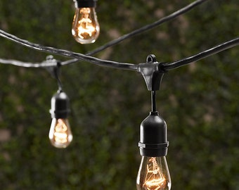 Vintage Patio String Lights w/ Clear Glass Edison Bulbs 24'' Spacing