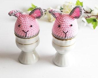 Pair of Crochet Bunny Egg Cozies, Easter Egg Warmers, Handmade Holiday Decor