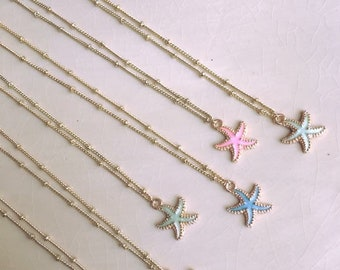 Starfish Pendant Necklace; 3 color options