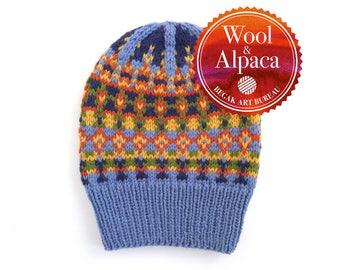 Blue Hat, Fair Isle Hat, Beanie, Slouchy Wool Beanie, Winter Hat, Hand Knit Hat, Alpaca Beanie, Nordic Hat, Chunky Knit Hat, Ready To Ship