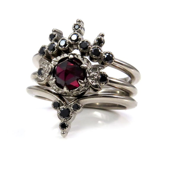 gothic wedding rings moon engagement ring set cut garnet with 4587