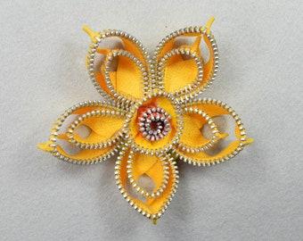 Daffodil Yellow Brooch, Barrette, Clip, or Headband, Zipper Pin, Zipper Art, Flower Pin, Flower Headband, Upcycled, Recycled, Repurposed