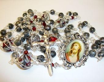 Catholic rosary, rosary of the crucifixion, grey rosary, semi gemstone labrodite,traditional rosary,Abundant Grace, Indylin,5 decade rosary