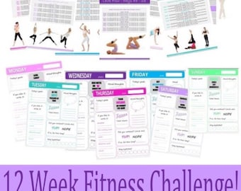 Printable Health and Fitness Journal, Fitness Planner, 12 Week Fitness Challenge & More! INSTANT DOWNLOAD!