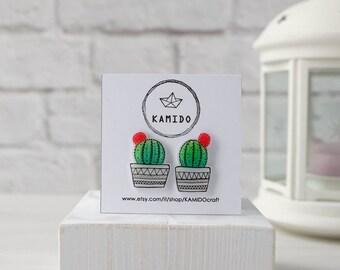Cactus and Flower Earrings