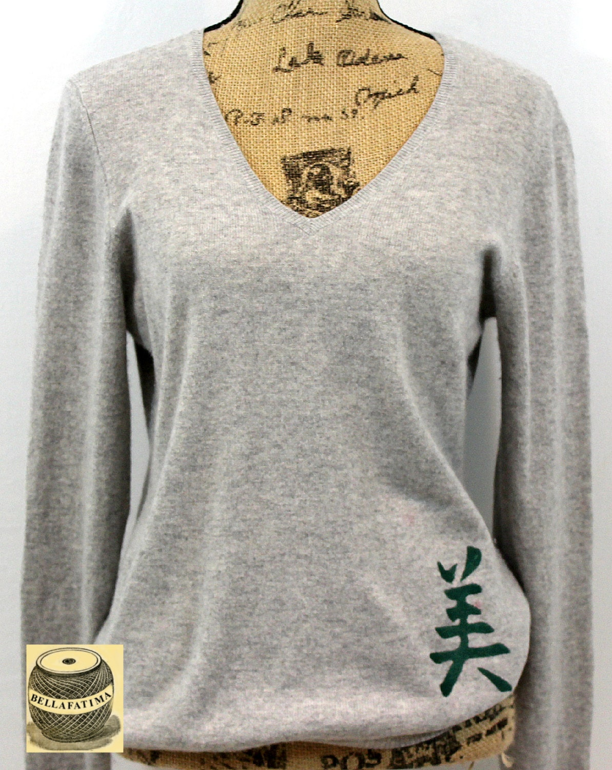 Chinese symbol for you images symbol and sign ideas light gray cashmere v neck embroidered with chinese symbol for request a custom order and have buycottarizona