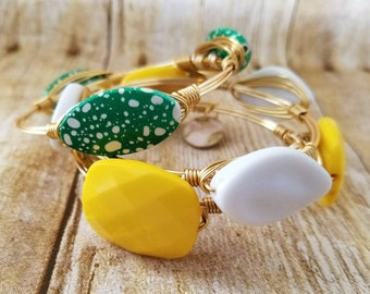 Spring green and white polka dot beaded wire wrapped bangle, bracelet, Packers bangle, Bourbon and boweties inspired