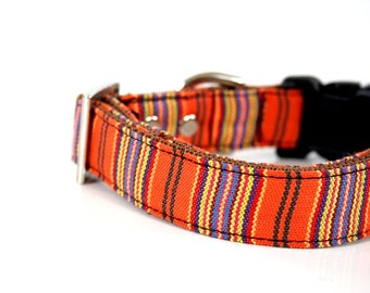 woven BOHO orange striped Dog Collar