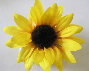 "3.5"" Yellow Orange Sunflower Silk Flower Hair Comb"