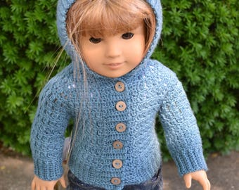 18 inch Doll Clothes - Crocheted Hooded Sweater - Peacock Blue - MADE TO ORDER - fits American Girl