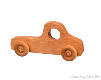 Wooden Toy Truck - Natural & Organic Wooden Toy Truck for Toddlers, Kids, Children, Wooden Toy Pickup Truck, Toy Truck, Cherry