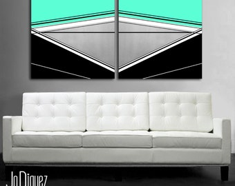 """Mint geometric painting. Canvas art. Modern wall art. Large painting. 24x50"""" Over the couch art."""